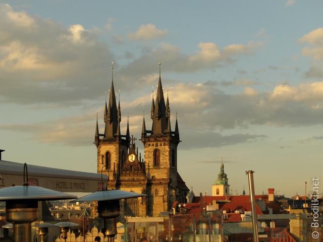 Тынский храм, Прага. Вид из ресторана отеля «UPrince»